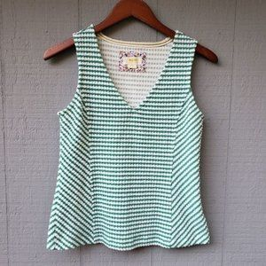 Maeve by Anthropologie Franconia green white tank